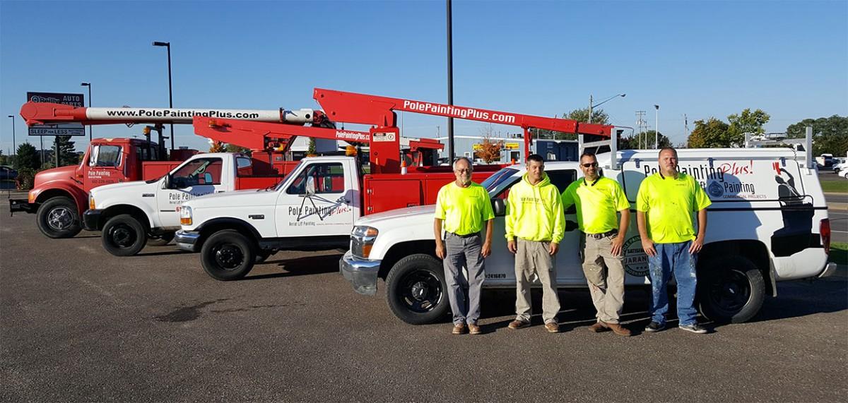 Pole Painting Plus! Team Members with Trucks
